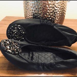 Nine West 7M black bejeweled ballet flats